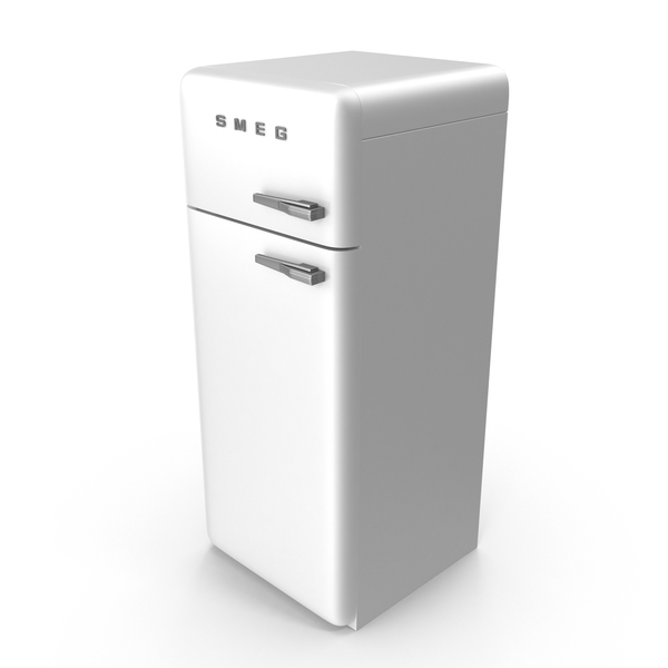 High Retro White Refrigerator PNG & PSD Images