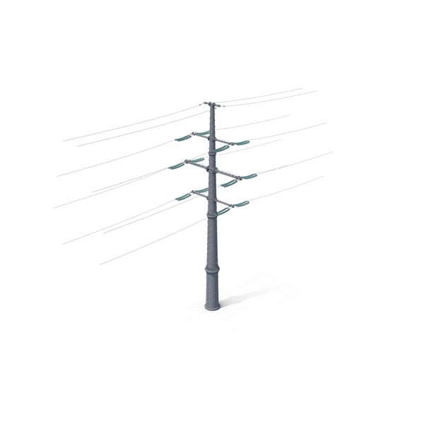 High Voltage Tower and Power Line PNG & PSD Images