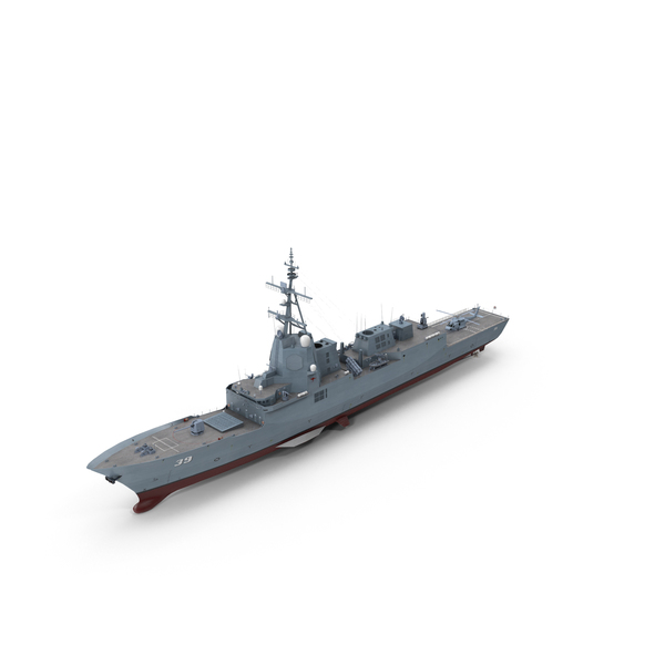 Hobart-Class Destroyer With Helicopter PNG & PSD Images