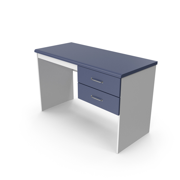 Home Office Desk Blue White PNG & PSD Images