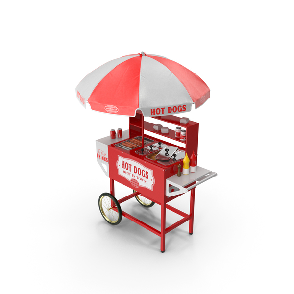 Hot Dog Cart with Dishes PNG & PSD Images