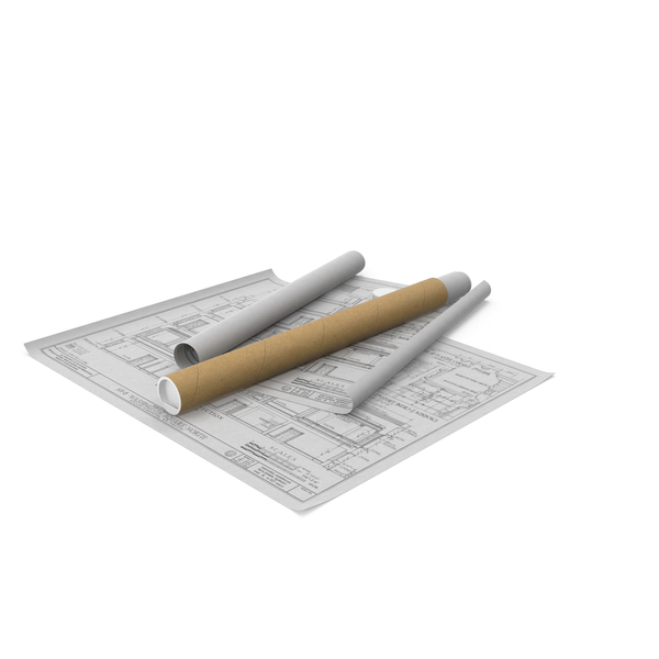 House Blueprints with Cardboard Tube PNG & PSD Images