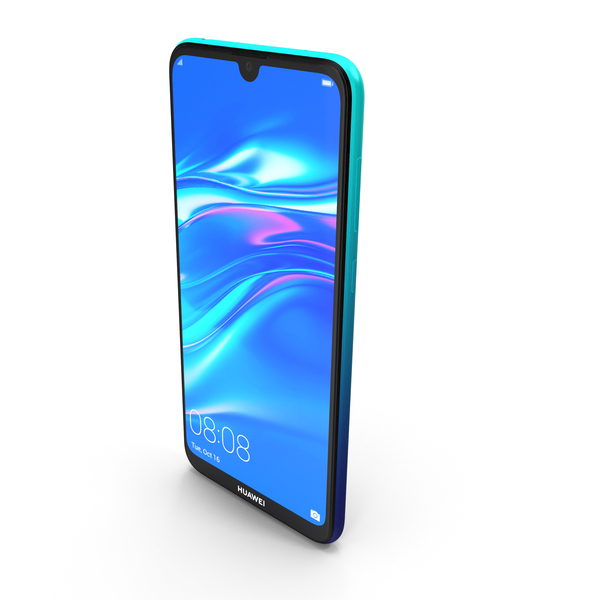 Huawei Y7 2019 Aurora Blue PNG & PSD Images