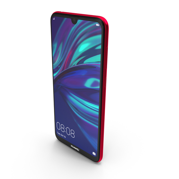 Huawei Y7 2019 Coral Red PNG & PSD Images