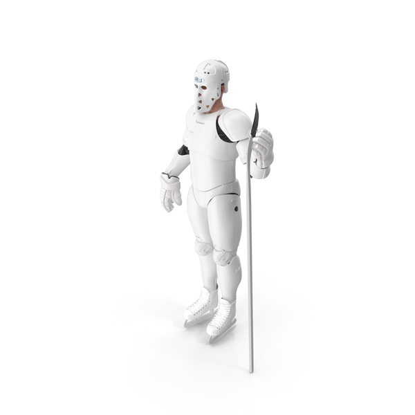 Humanoid Hockey Player With Stick White PNG & PSD Images