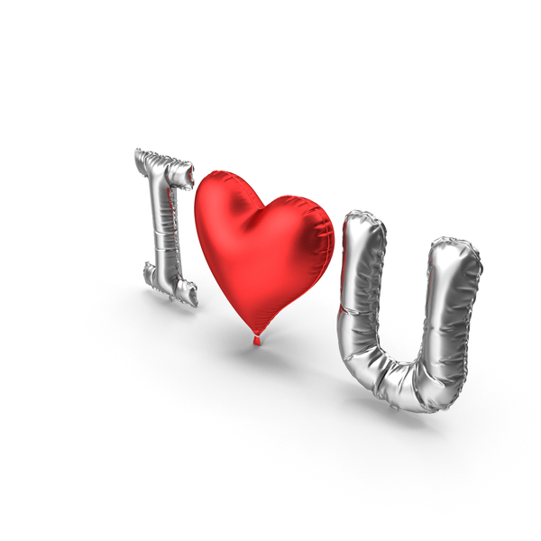 I love You from Silver and Red Balloons PNG & PSD Images