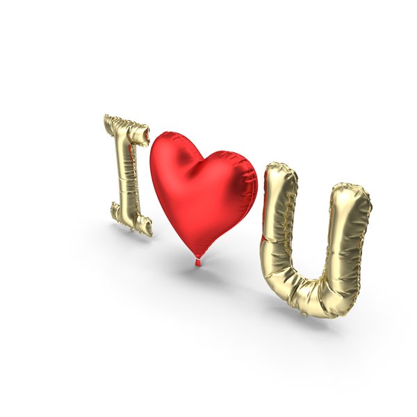 Valentine's: I Love You Gold and Red Balloons PNG & PSD Images