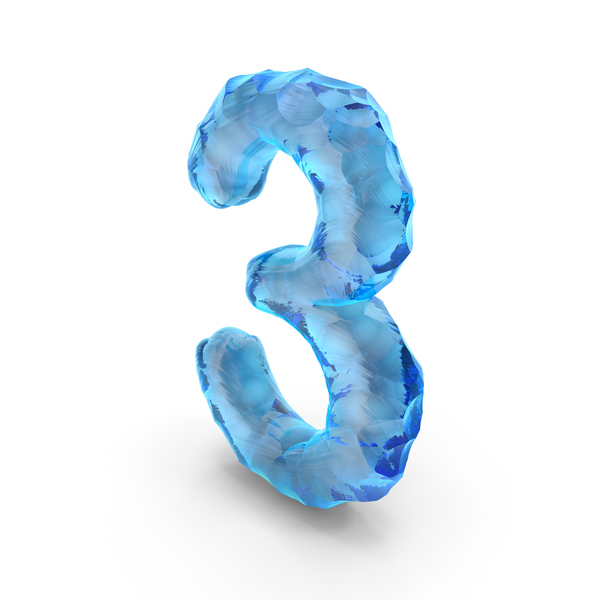 Ice Alphabet Number 3 PNG & PSD Images