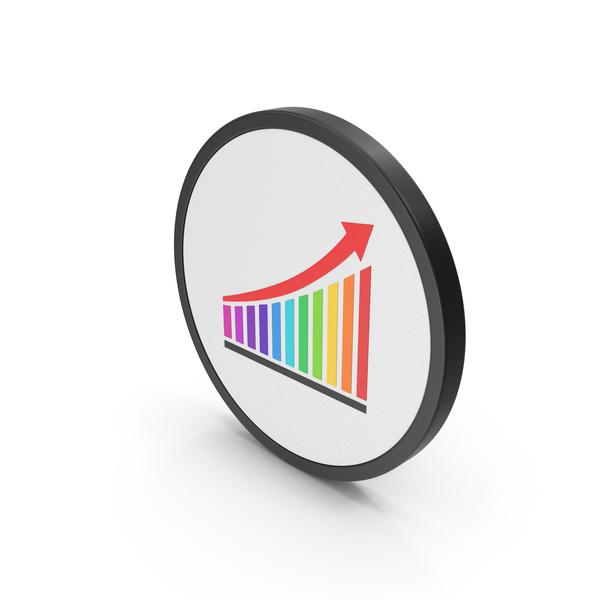 Graph: Icon Chart With Arrow Colored PNG & PSD Images