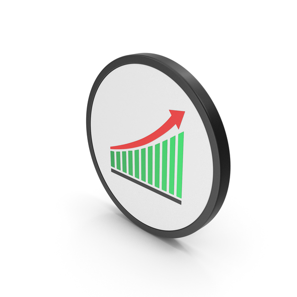 Graph: Icon Chart With Arrow Green PNG & PSD Images