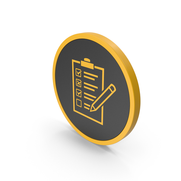 Industrial Equipment: Icon Checklist Yellow PNG & PSD Images