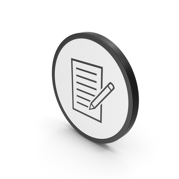 Industrial Equipment: Icon Document With Pen PNG & PSD Images