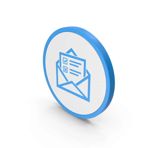 Computer: Icon Envelope With Checklist Blue PNG & PSD Images