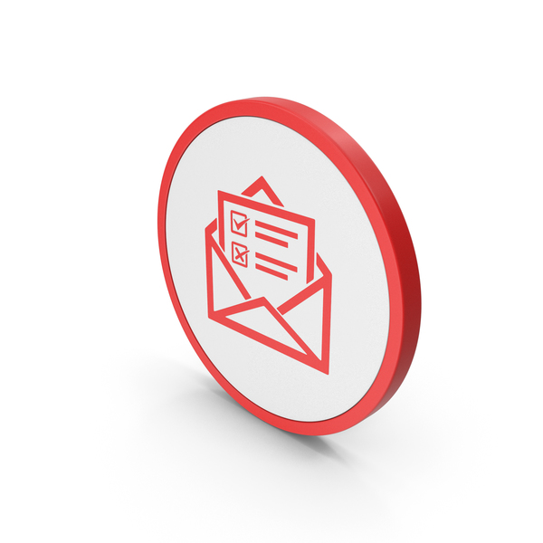 Computer: Icon Envelope With Checklist Red PNG & PSD Images
