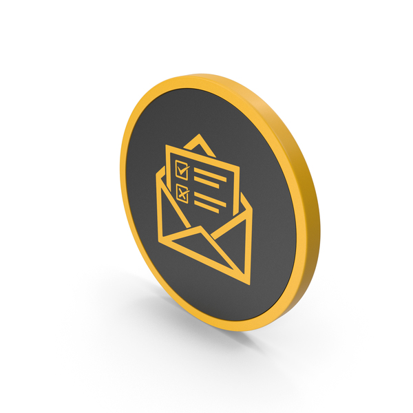 Computer: Icon Envelope With Checklist Yellow PNG & PSD Images