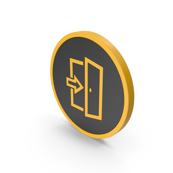 Sign: Icon Exit Yellow PNG & PSD Images