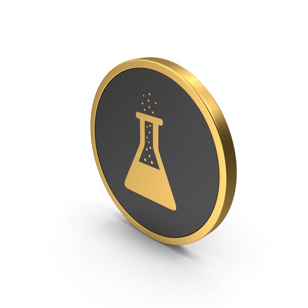 Computer: Icon Gold Erlenmeyer Flask with Bubbles PNG & PSD Images