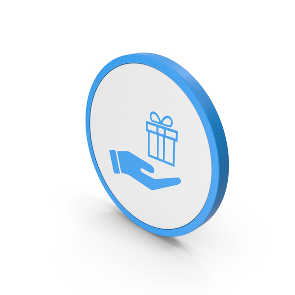 Computer: Icon Hand Holding Gift Blue PNG & PSD Images