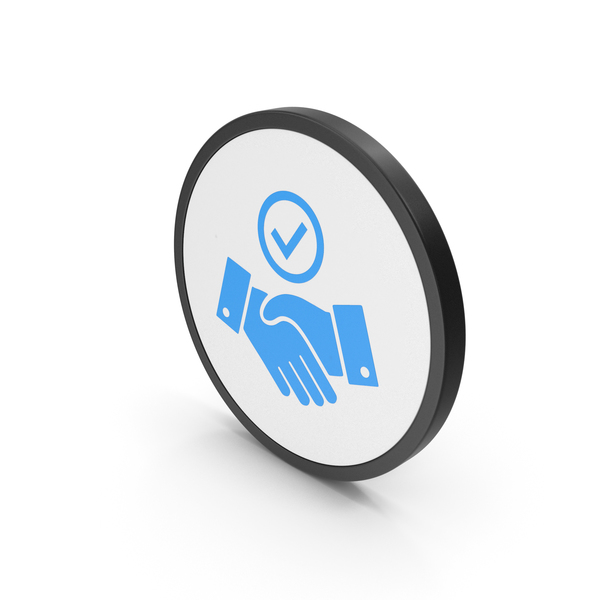 Computer: Icon Handshake With Checkmark Blue PNG & PSD Images