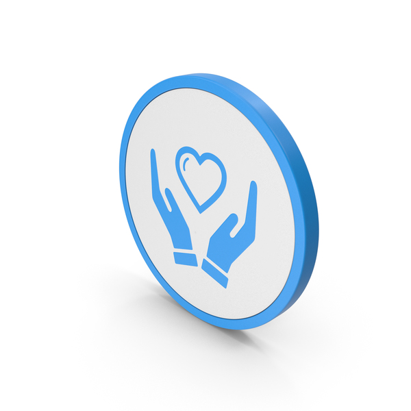 Heart Shaped Candy: Icon Heart In Hands Blue PNG & PSD Images