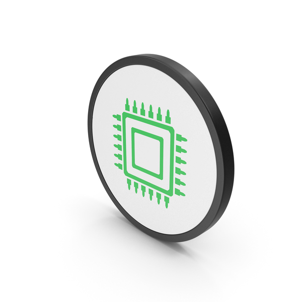 Computer Chip: Icon Microchip Green PNG & PSD Images