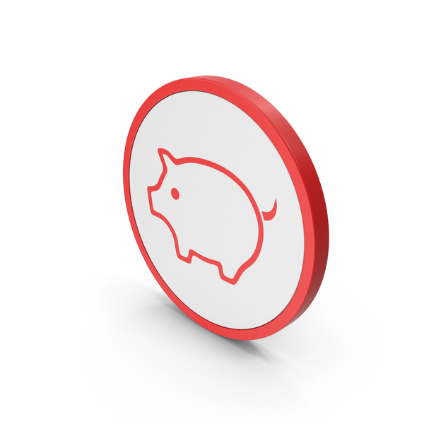 Piggy Bank: Icon Pig Red PNG & PSD Images
