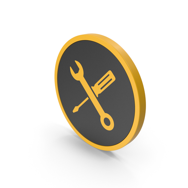 Symbols: Icon Screwdriver And Wrench Yellow PNG & PSD Images