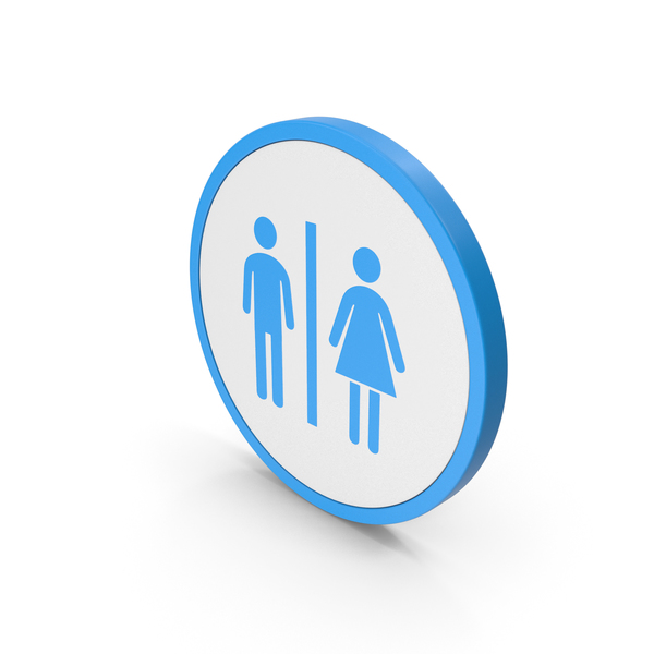 Toilet Sign: Icon WC Blue PNG & PSD Images