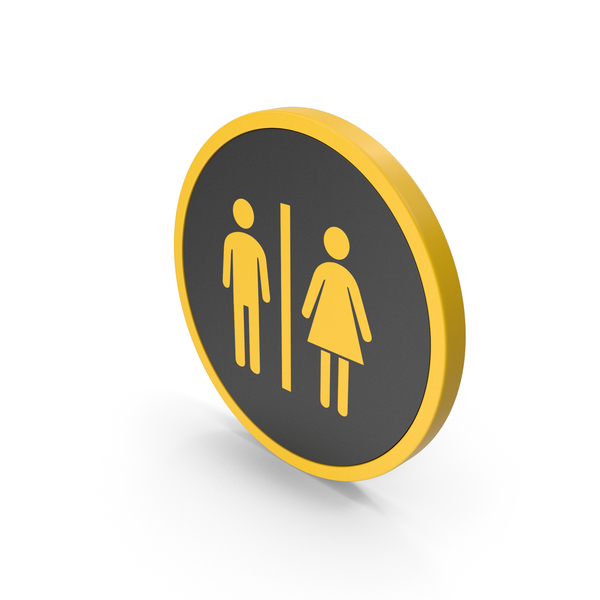 Toilet Sign: Icon WC Yellow PNG & PSD Images