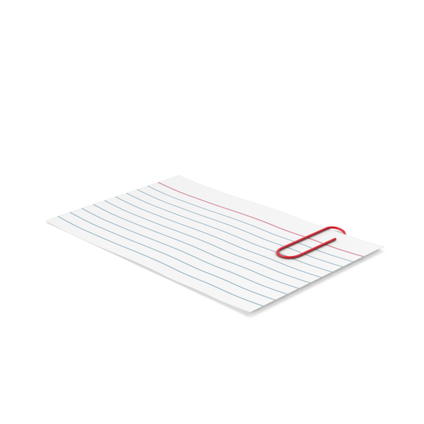 Notepad: Index Card And Paper Clip PNG & PSD Images