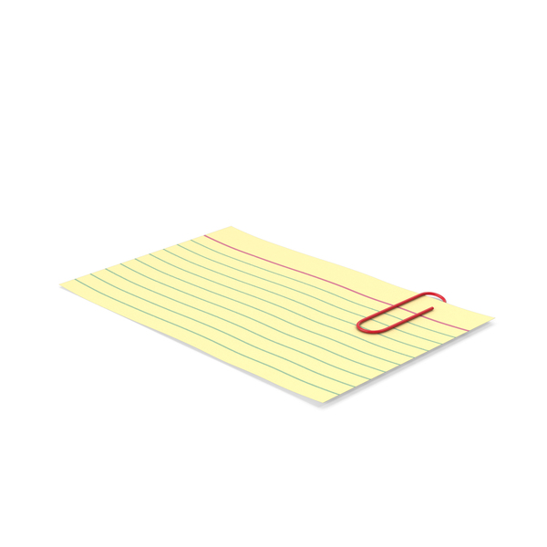 Notepad: Index Card Yellow With Paper Clip PNG & PSD Images