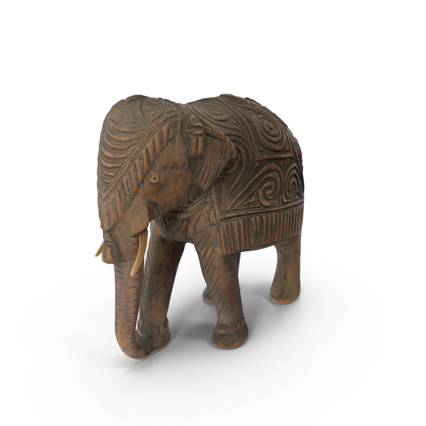 Indian Wooden Elephant Statuette PNG & PSD Images