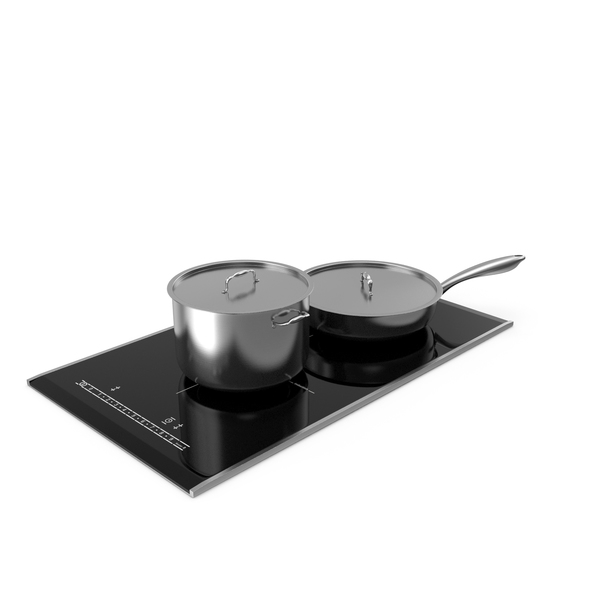Cooktop: Induction Hob with Stainless Tableware PNG & PSD Images