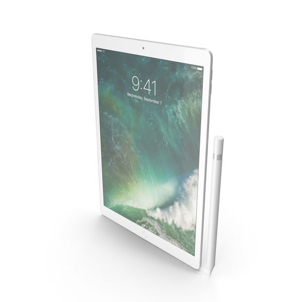 iPad Pro 12.9 (2017) Silver with Pencil PNG & PSD Images