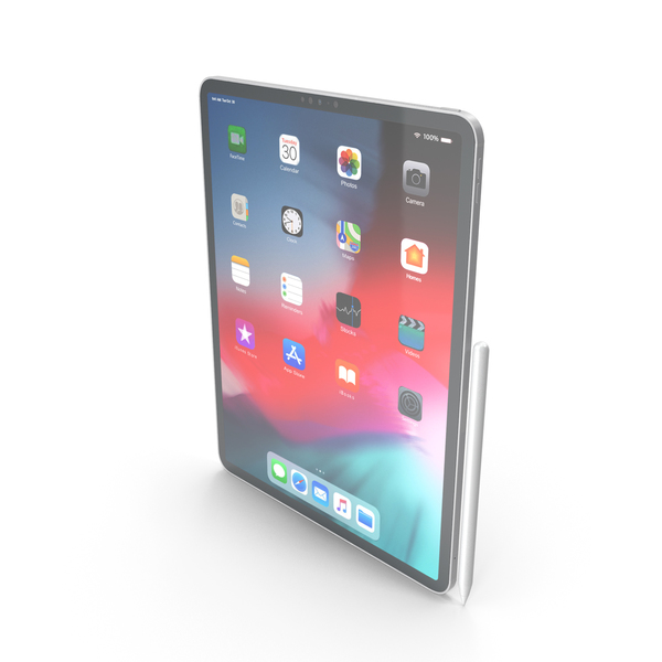 iPad Pro 12.9 (2018) Silver With Pencil PNG & PSD Images