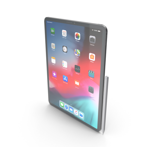 iPad Pro 12.9 (2018) Space Gray With Pencil PNG & PSD Images