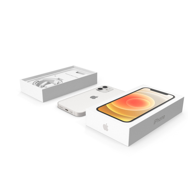 Cellphone Charger: iPhone 12 Mini Unboxed White PNG & PSD Images