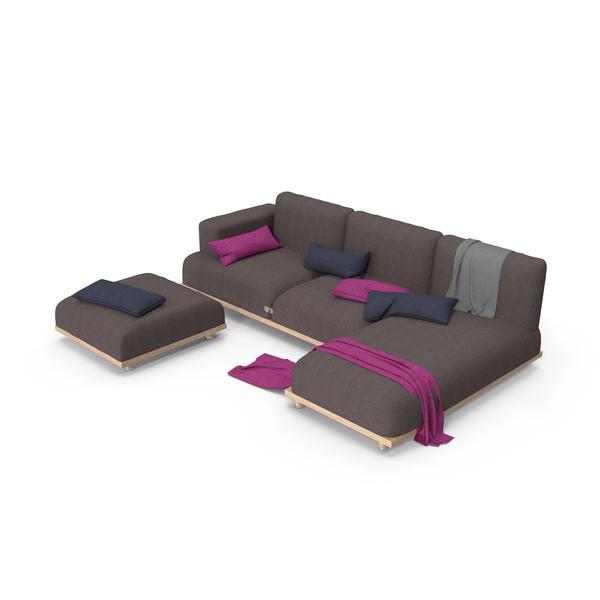 Living Room Set: Italian Sofa PNG & PSD Images