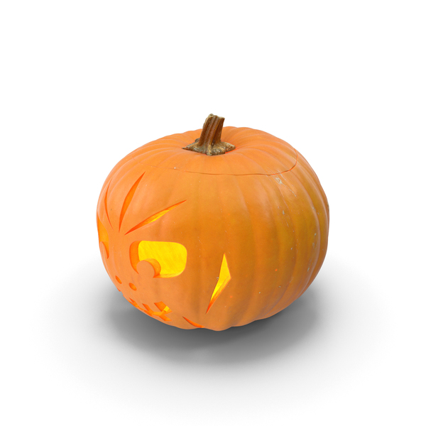 Jack O Lantern: Jack O Lantern Pumpkin with Carved Face Lit PNG & PSD Images