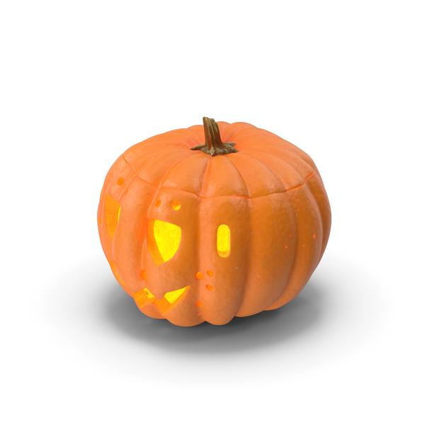 Jack o Lantern Pumpkin with Carved Face Lit PNG & PSD Images