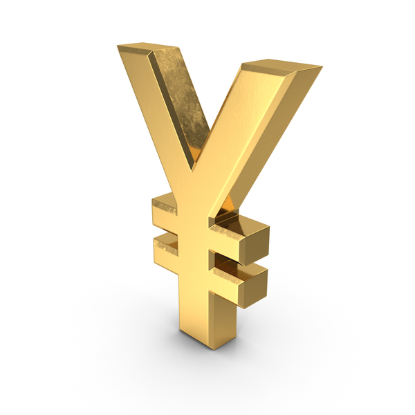 Sign: Japanese Yen Currency Symbol Gold PNG & PSD Images