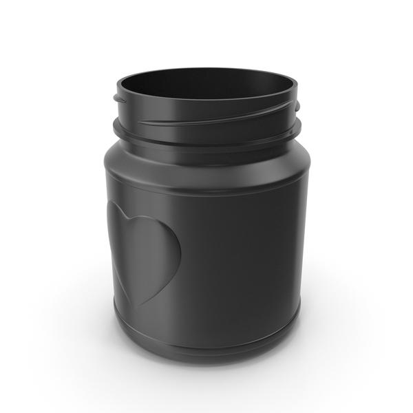 Jar Heart Black without Lid PNG & PSD Images