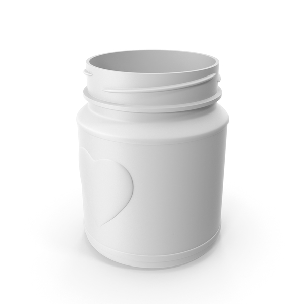 Jar Heart White without Lid PNG & PSD Images