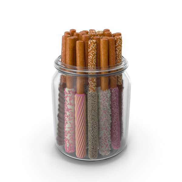 Jar with Assorted Dipped Pretzel Rods PNG & PSD Images