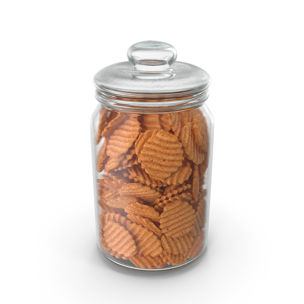 Jar with BBQ Crinkle Cut Wavy Potato Chips PNG & PSD Images