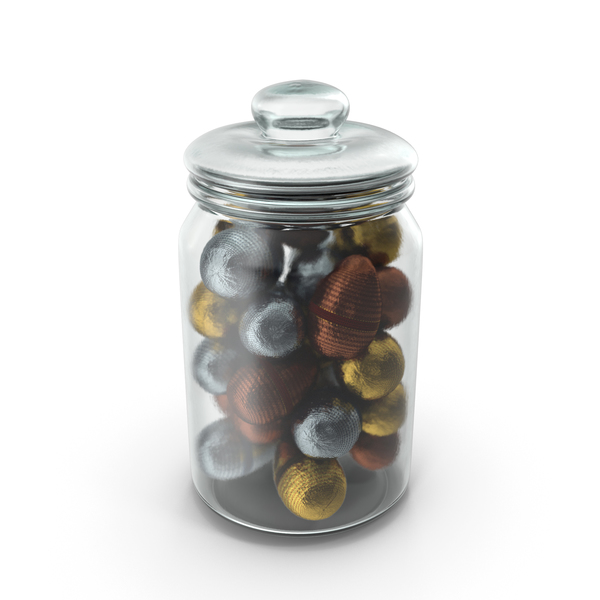 Jar with Fancy Wrapped Chocolate Easter Eggs PNG & PSD Images