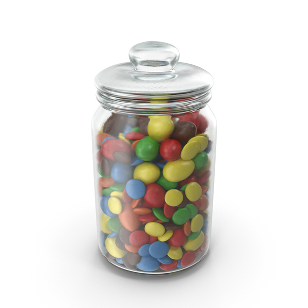 Jar with Mixed Color Coated Chocolate Candy PNG & PSD Images
