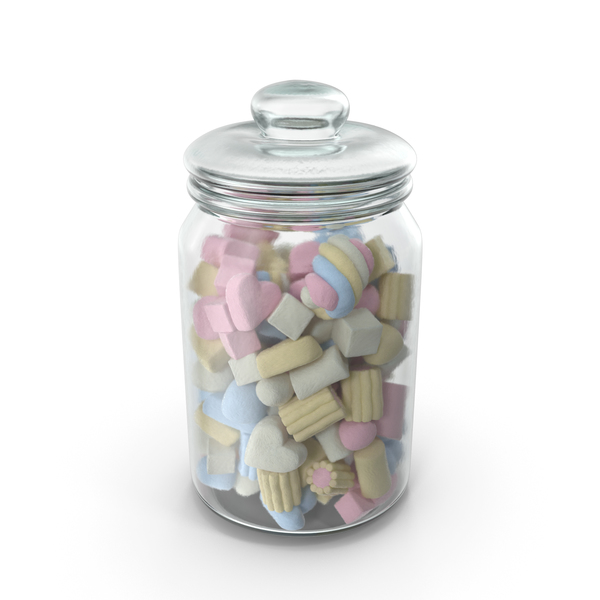 Jar with Mixed Marshmallows PNG & PSD Images