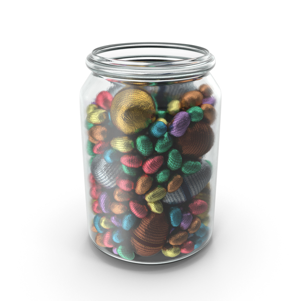 Jar with Mixed Wrapped Chocolate Easter Eggs PNG & PSD Images