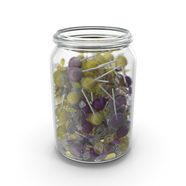 Jar With Mixed Wrapped Hard Candy PNG & PSD Images